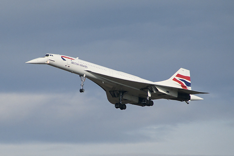 Concorde G-BOAE lands at Edinburgh Airport.
