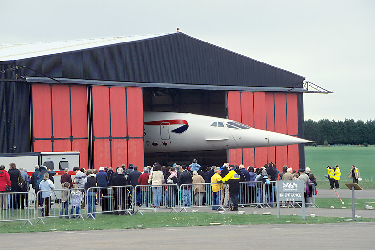 Concorde is moved into its new home.