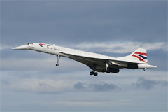 British Airways Concorde G-BOAE lands at Edinburgh Airport for the last time.