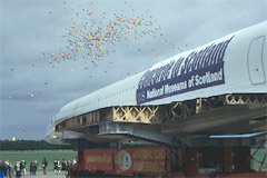 The balloons go up as Concorde arrives at the Museum of Flight.